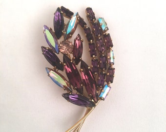Iridescent Amethyst Rhinestone Brooch February Birthstone Leaf Pin 60s Vintage Marquise and Baguette Stone Purple Jewelry