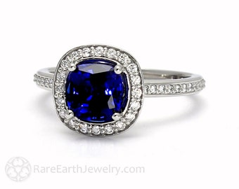 Blue Sapphire Cushion Halo Engagement Ring Platinum Conflict Free Diamonds Sapphire Ring Wedding Ring