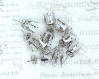 10 Surgical Steel Prong Earrings 10mm Stud Settings Surgical Steel Posts And Backs Prong Settings