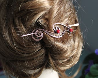 Large copper hair barrette with red sea bamboo - Hair pin - Hair slide - Hair accessory - Copper hair pin - Heavy duty hair pin - HP044