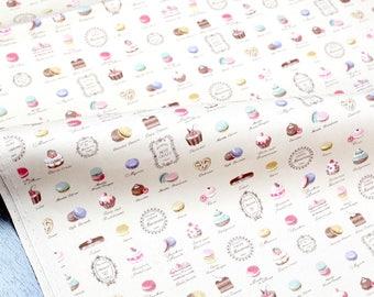 Japanese Fabric Petit Sweets Macaron Yuwa Canvas - Khaki - fat quarter
