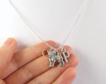 Personalized Pug Necklace- choose a birthstone and initial, Pug Jewelry, Pug Gift, Personalized Pug, Pug Birthstone, Pug Charm, Dog Necklace