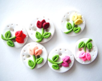 Button Teeny Tiny Tulips handmade polymer clay buttons ( 6 )