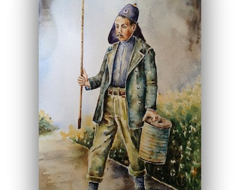 Original Watercolor Painting - Ottoman Fire Man,figurative painting