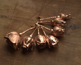 Natural rose buds covered with copper, copper-plated roses, metal flowers, copper electroformed, metal roses,nature inspired pendant