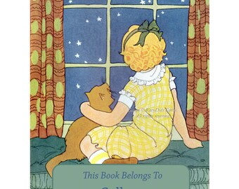 Childrens Bookplates - Pack of Ten - Girl with Cat Looks at the Stars