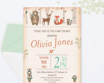 Woodland Baby Shower Invitation - Woodland Invitation - Woodland Invite - Tribal Woodland Baby Shower Invite