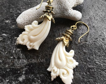 Aphrodite earrings. Statement jewelry. Venus earrings. Hand Carved Bone and Brass Earrings.