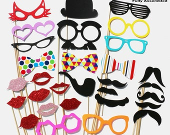 Wedding Photo Booth Props 30 Piece GLITTER Party Set - Photobooth Props