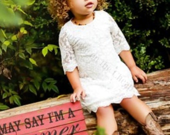 Ivory Lace Dress for Toddler or Little Girls Rustic Vintage Flower Girl Dress