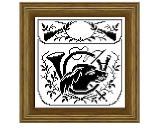 Hunting emblems 2 -  cross stitch pattern, filet crochet pattern. Instant download PDF.