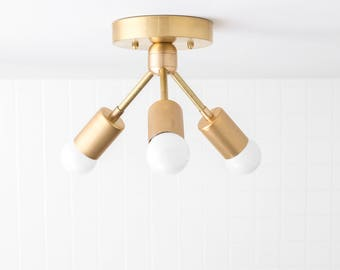 Chandeliers pendant lights etsy modern ceiling light brass fixture semi flush lamp minimalist lighting aloadofball Gallery