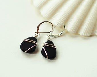 Black lever back earrings sterling silver leverbacks beach glass sea glass gift for sister gift for mom Christmas gift ideas black earrings