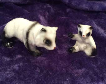 Miniature Bone China Panda Family Figurines, Mom and Baby Panda, Vintage collectibles