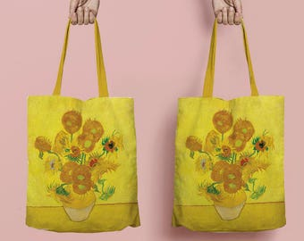 Van Gogh Zonnebloemen tote bag - fine art bag - linen tote bag - fine art shopping bag - unique tote bag