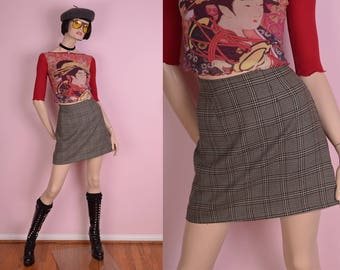 90s Plaid High Waisted Skirt/ US 3/ 1990s