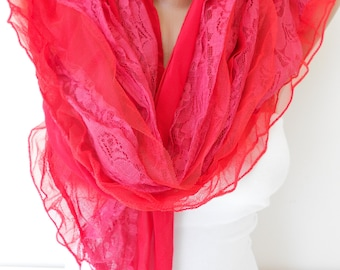 Mothers Day Gift For Her NEW Tulle Scarf Shawl Lace Scarf Red Scarf Cowl Scarf Red Wedding Scarf  Scarf  Fashion Accessories Gift For Mom