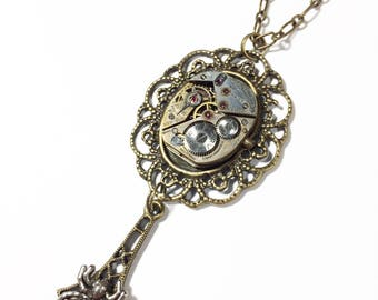 Steampunk Necklace Watch Movement, Spider Necklace - Free Domestic Shipping