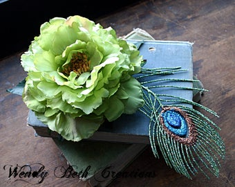 Lime Green Peony and Faux Peacock Feather Hair Clip Fascinator - Wedding, Vegan, ATS, Tribal, Fusion, Belly Dance, Poppy, Green