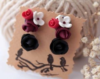 Tiny stud earrings set, red rose studs, gothic, marsala, black rose earrings, minimalist tiny stud earrings set, dark red, everyday studs