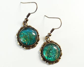 Sparkly Teal Glass Cab Earrings in in Bronze