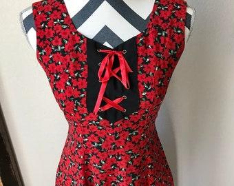 Vintage 1990s Red Floral Pattern Kawaii Pin Up Girl Lolita Corset Detail Dress Sz S