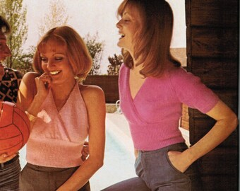 Women's Knitted Crossover Summer Top and Halter Pattern PDF / 1970's crossover sweater knitting pattern