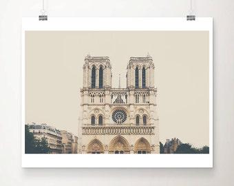 Notre Dame photograph, Paris decor, Paris photography, Europe travel photograph, large wall art, neutral home decor, Paris decor