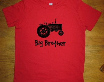 Big Brother Shirt - 5 Colors Available - Kids Big Brother Tractor T shirt Sizes 2T, 4T, 6, 8, 10, 12 - Gift Friendly - Kids Farming Brother
