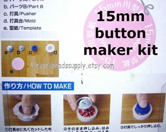 Cover Button maker Kit - 15mm | supply | kit bouton tissu | 5/8 inch | id1320168 | metal button | wire loop cover button assembly tool