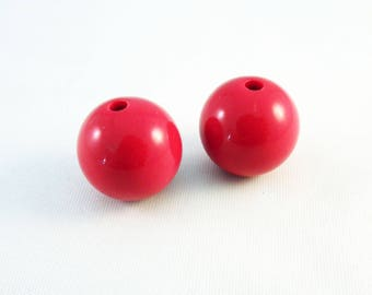 PAC45 - 2 large red Bubble Gum Opaque diameter 18mm acrylic beads