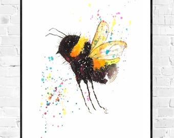 Original watercolor painting of a bumblebee-Bumble Bee painting-Size A5-Original painting-Animal painting-colorful art-original art gift-