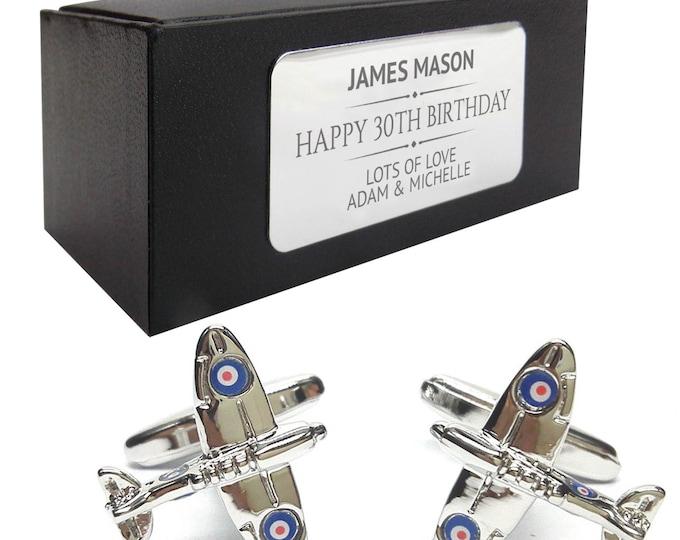Spitfire aeroplane CUFFLINKS 30th, 40th, 50th, 60th, 70th birthday gift, presentation box PERSONALISED ENGRAVED plate - 248