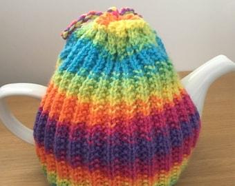 Bright Tea Cosy, rainbow teapot cover, jazzy tea cozy, tea drinkers gift, house warming new house gift, tea cosys handmade, knitted tea cozy