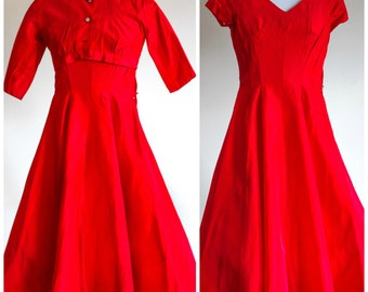 1950s red fit and flare party dress with matching bolero