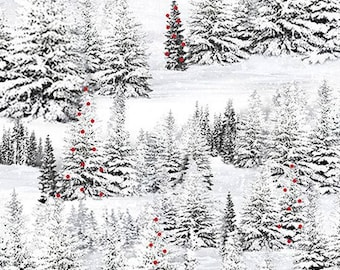 Home For The Holidays Dark Gray Pine Tree in Snow from Quilting Treasures by the yard