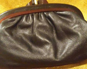 Black Italian Leather and Rootbeer Lucite Clutch bag