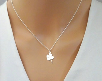 Clover Necklace, Lucky Clover pendant, Good Luck Jewelry, Shamrock Necklace, Four Leaf Clover pendat, Sterling Silver shamrock necklace
