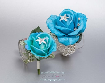 Malibu Blue Corsage and Boutonniere Set - Prom Corsage, Real Touch Flowers, Turquoise Boutonniere, Turquoise Wrist Corsage, Starfish Corsage