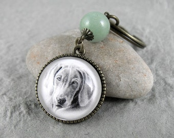 Weimaraner Key Ring, Pet Drawing, Pet Gift, Dog Keychain, Dog Art, Silver, Bronze, Gemstone Keychain, Weimaraner
