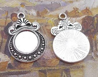 20 Pendant Trays 12mm Round Bezel Setting Filigree Floral Beaded Frame Antique Silver Zinc Alloy