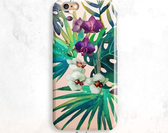 iPhone 8 cas, Floral iPhone X cas, feuilles tropicales iPhone 7 cas, iPhone 6 Plus, iPhone 7, feuilles iPhone 6 cas, palmiers iPhone 5 cas
