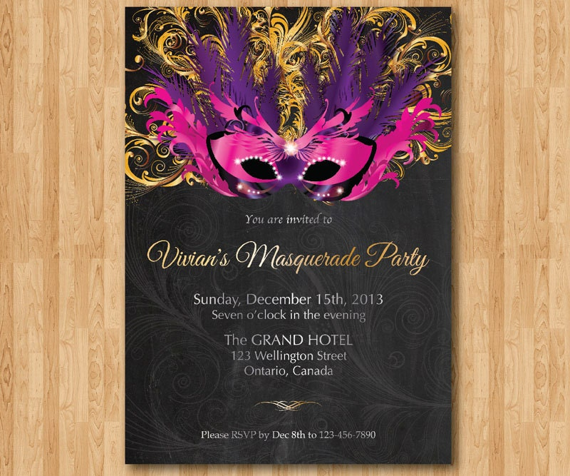 Birthday Invitation Masquerade Party. Mardi Gras invites.