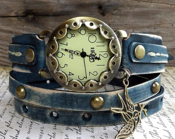 Denim Blue Wrap Watch, women's watch, Leather Wrap Bracelet, Womens leather watch, blue wrist watch, leather jewelry, Leather cuff