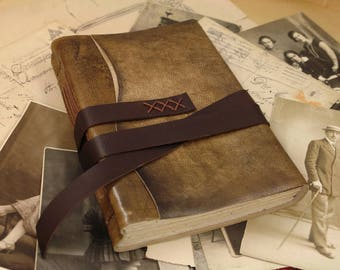 brown leather journal, notebook diary with vintage style paper, handmade leather journal