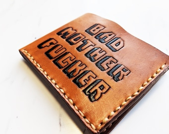 Mens Leather wallet / Pulp Fiction wallet / gift for him / Bad Mother Fucker wallet / Unique gift