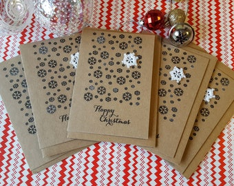 A set of 5 Crochet Snowflake Christmas Card / Let it Snow Christmas Card / Hand Stamped Christmas Card / 5 pack of Christmas Cards