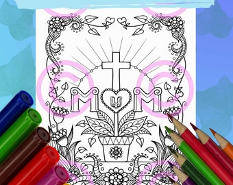 I Love You Mom Christian cross Adult Coloring Page by Jenny Luan