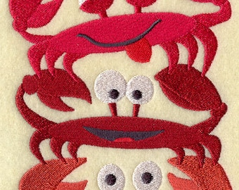 Crab Stack Embroidered Flour Sack Hand/Dish Towel