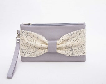 Grey wristlet evening clutch with lace bow  ,lace clutch , Bow clutch ,wristlet clutch ,  lace clutch,bridesmaid gift